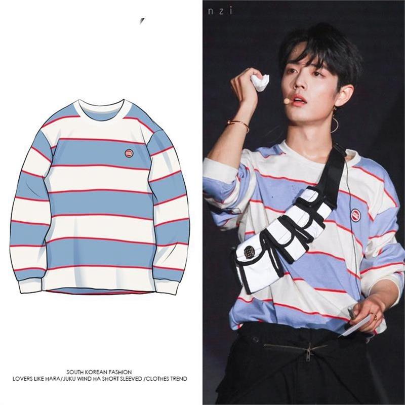 The Untamed Wei Wuxian Xiao Zhan White Blue Striped Long Sleeve Shirts Blouse Women Men Couple Loose Sweatshirt Tops Clothes