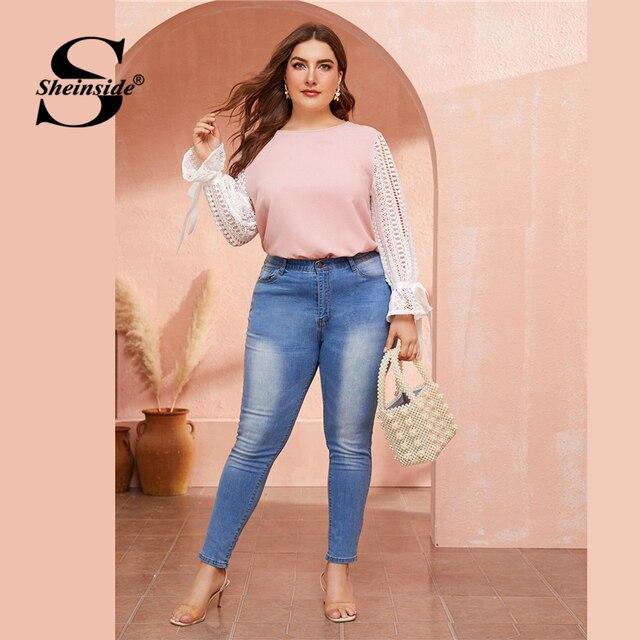 Sheinside Plus Size Elegant Two Tone Guipure Lace Blouse Women 2019 Autumn Lace Up Flounce Sleeve Blouses Ladies Pink Top 4