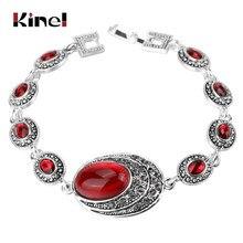 Kinel pulseiras femininas modernas, pulseiras vermelhas para mulheres charme cor prata cinza cristal grande oval pedra principal boêmio jóias