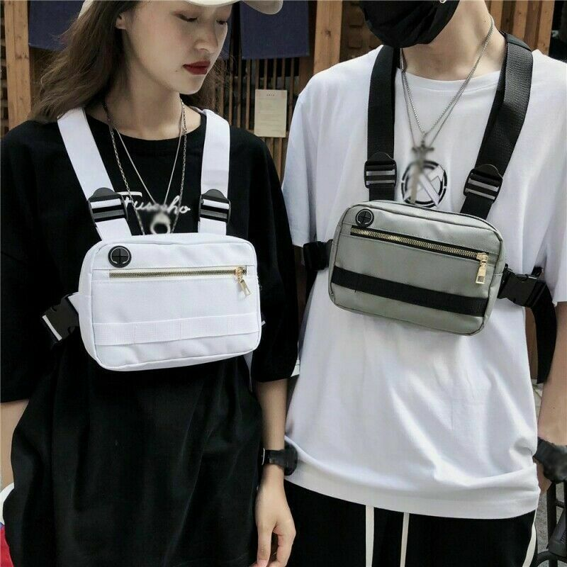 Fashion Streetwear Men Hip-Hop Chest Bags Women Tactical Two Straps Chest Bags Trendy Style Rectangle Chest Utility Waist Pack