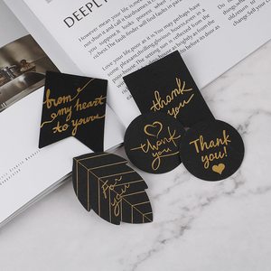 10 pcs Black Paper Hang Tag Label Gold Stamping With Heart Thank You Paper Gift Tags For Gift Box Party Birtay Decor