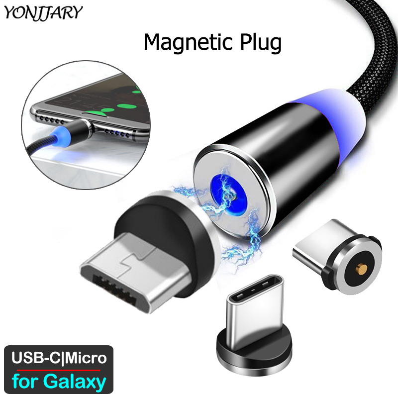 Round Magnetic Adapter Cable For Samsung Galaxy A20 A30 A40 A50 A60 A70 A80 A90 S A31 A51 A71 M40 Micro USB Type C Charger Plug