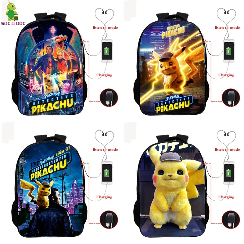 Pokemon Detective Pikachu Backpack Back To School Bags Children Backpacks Kids Knapsack Girls Boys Travel Bagpack Mochila Gift