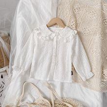 Kids Blouse Long-Sleeve-Shirt Little-Girls Korean Tops Embroidery Lace Children Autumn