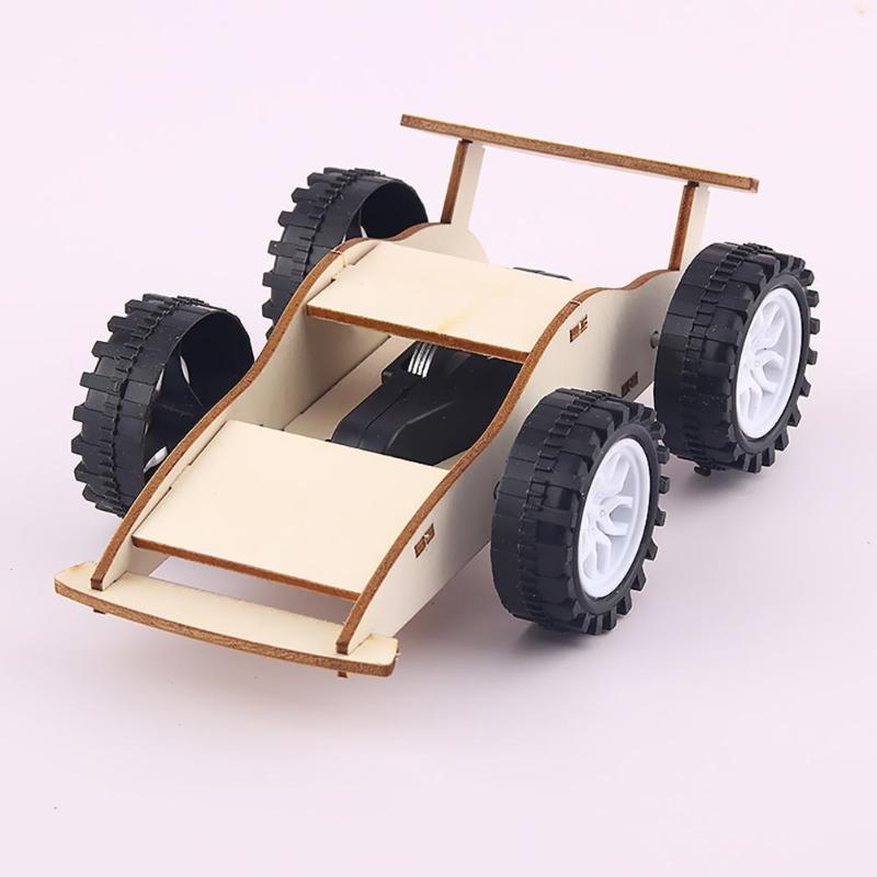 Kids Inertial Car Toys Kit DIY Educational Physics Science Assemble Craft Non Remote Control Car Toy Wooden DIY Gifts For Baby
