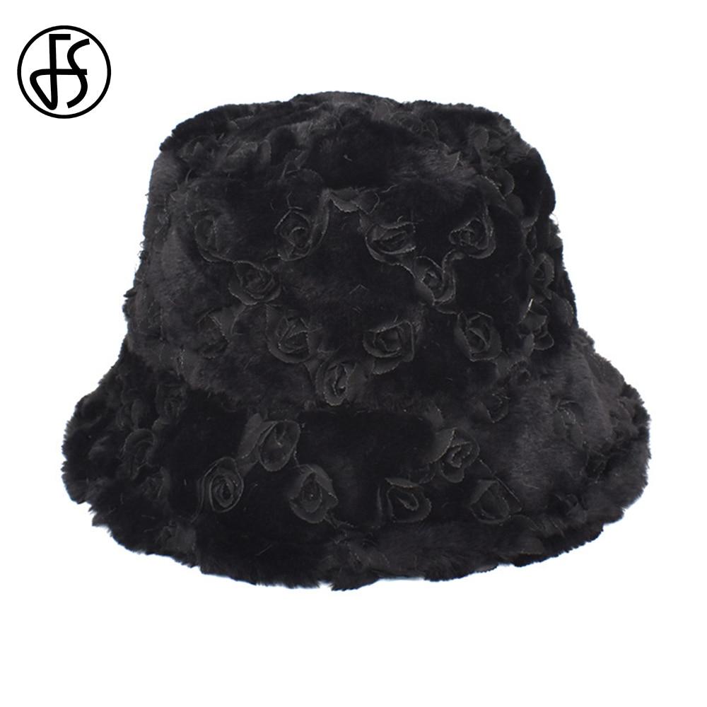 FS Fashion Autumn Winter Women Caps New Rose Flower Rabbit Fur Panama Hats Sweet Cute Black All-match Warm Plush Bucket Hats