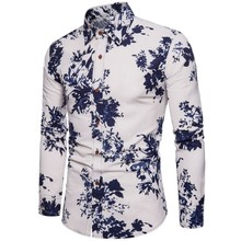 M-5XL New Men's Shirt Flower Printing Men's Shirts Casual Slim Fit Men Shirt Long Sleeve Fashion Spring Autumn Hawaiian Shirt fashion spring autumn casual men shirt slim fit flower print linen shirt long sleeved shirts male floral social masculina m 5xl
