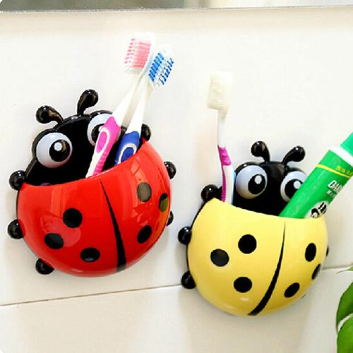 Hot Ladybug Toothbrush Holder Suction Ladybird Toothpaste Wall Sucker Bathroom Sets Household Bathroom Merchandises