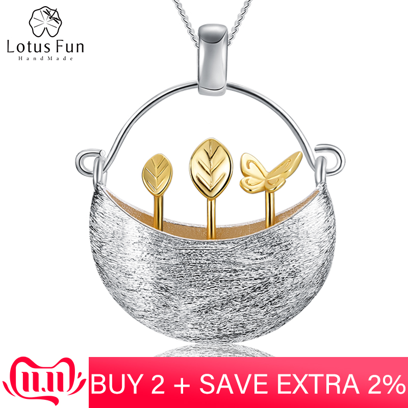 Lotus Fun Real 925 Sterling Silver Handmade Fine Jewelry My Little Garden Design Pendant Without Necklace For Women  Acessorios