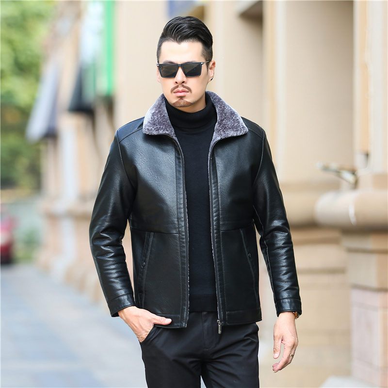 New Genuine Leather Coat For Men Sheepskin Leather Hooded Jacket Winter Jackets For Men Free Shipping