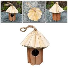Fir Cone Bird House Wooden Birds Nest Handmade Wood Crafts With Rope Lanyard Hanging Birdhouse 449E(China)