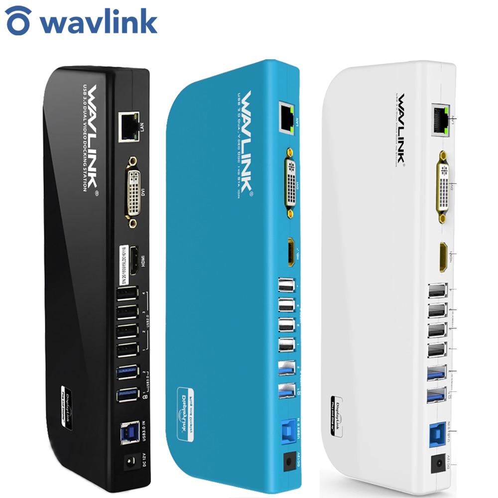 Uniwersalna stacja dokująca USB 3.0 podwójny ekran wideo Dsiplay HDMI i DVI/VGA Gigabit Ethernet Audio 6 portów USB do laptopa Tablet