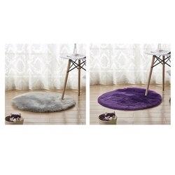 2 sztuk Faux kożuch wełny okrągły dywan 30X30 Cm puszyste miękkie Longhair dekoracyjny dywan poduszki krzesło Sofa Mat, fioletowy i szary