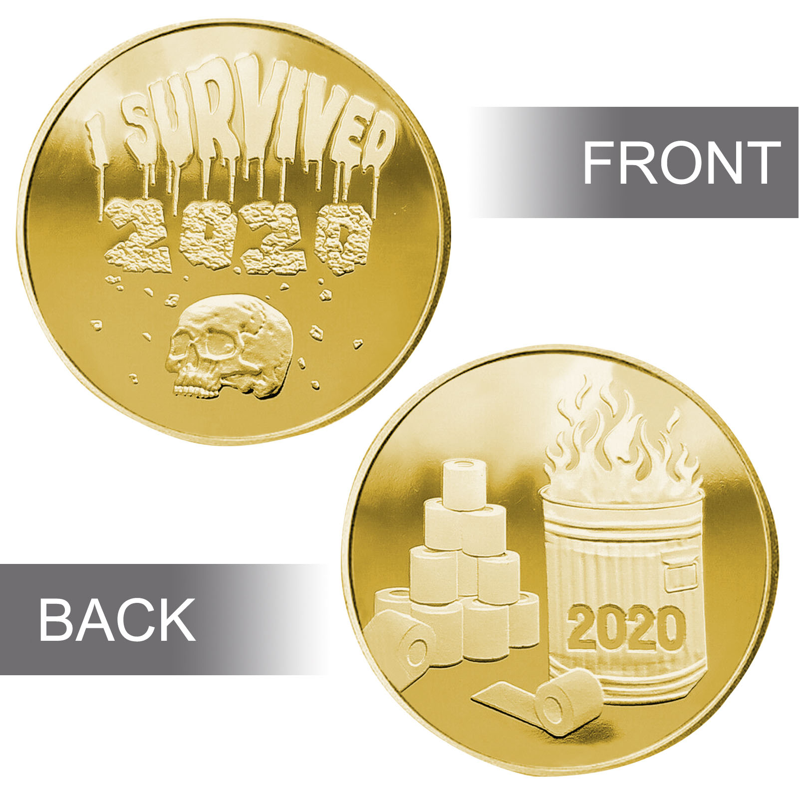 Hohe-qualität Legierung Materialien, Metall Überzug Schädel Überzog Gedenkmünze 2020 ICH Überlebte 2020 Sammlung Kunst Geschenk Souvenir