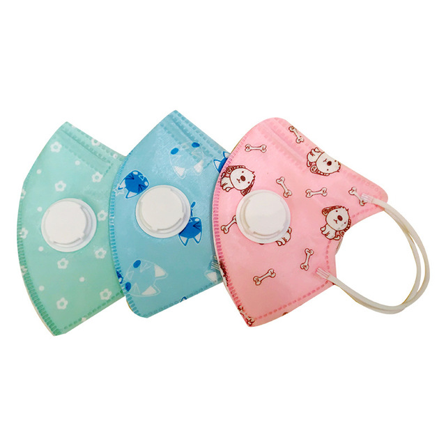 5pcs  children mask for 4-10 years kids with breathing valve 5 layers protection kid mouth mask Anti Dust Cartoon in stock