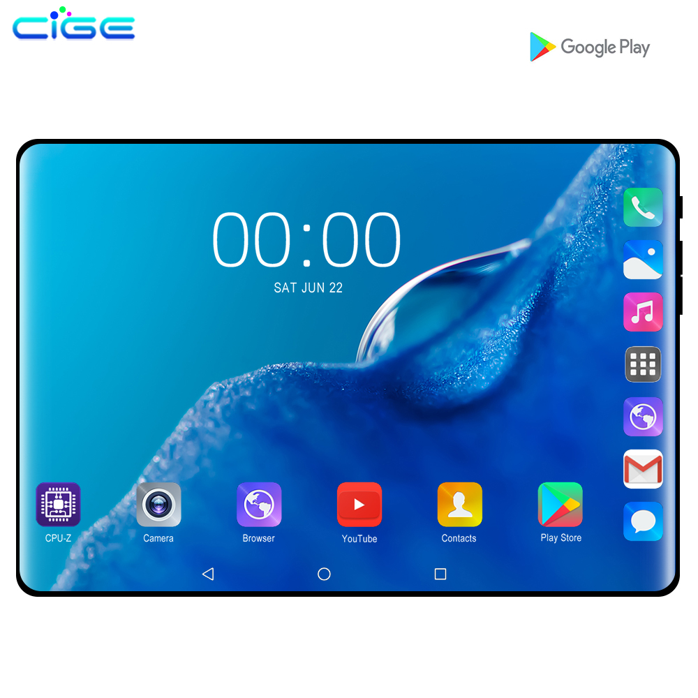 CIGE 2019 2.5D IPS Tablet PC 3G Android 9.0 Octa Core Google Play The Tablets 6GB RAM 128GB ROM WiFi GPS 10' Tablet Steel Screen