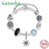 2019 New 925 Sterling Silver Blue zircon star Pendant for Women DIY 925 Murano Beads Bracelets Bangles Jewelry Gift