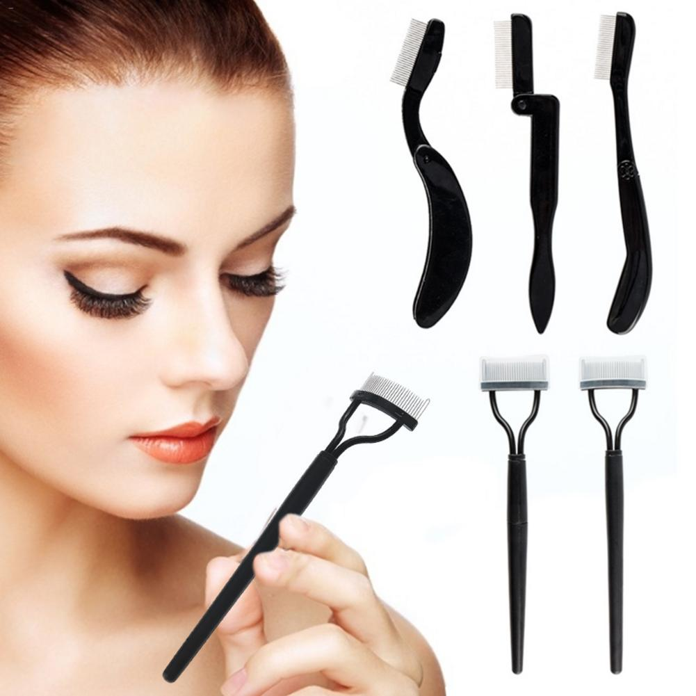 5pcs Pro Eyelash Eyebrow Comb Lash Separator Lift Curl Metal Brush Folding Semi-arc Steel Needle Eyebrow Comb Beauty Makeup Tool