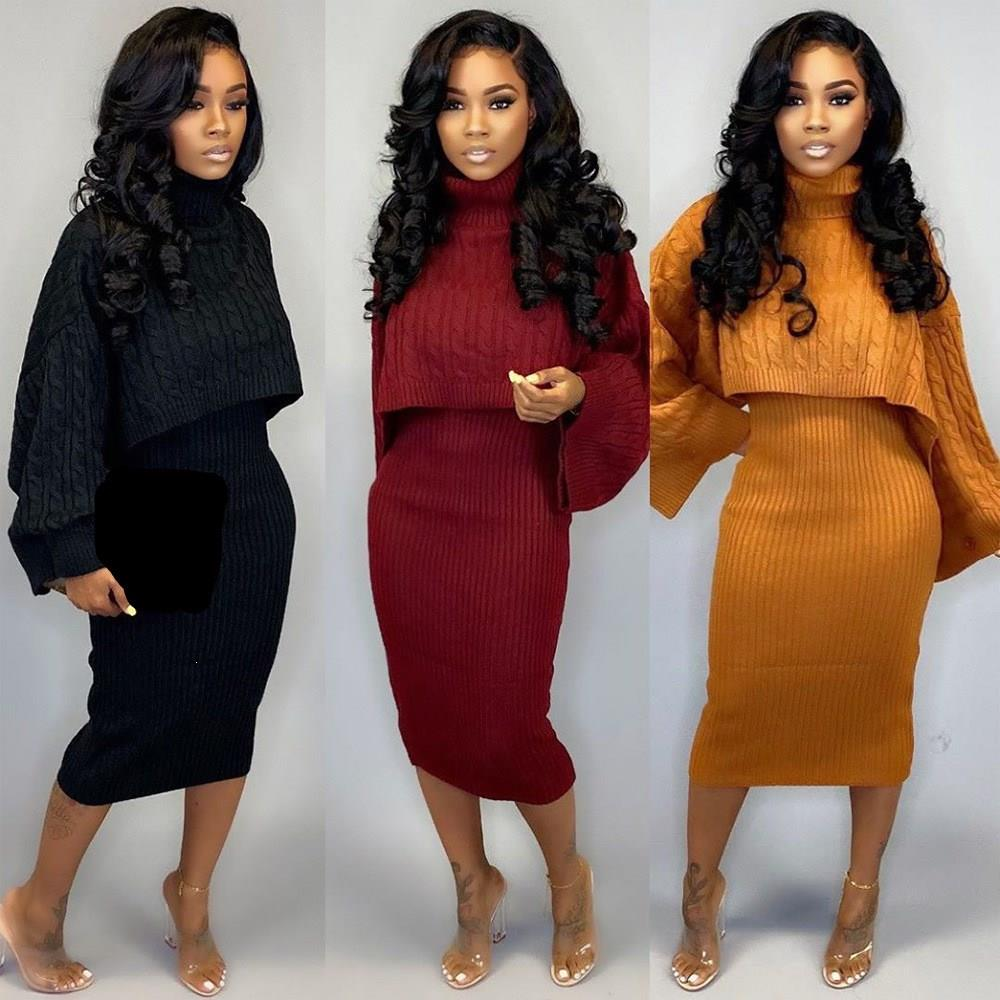 Sexy Turtleneck Sweater Mini Dress Two Piece Set Short Women Winter Solid Color Knitted Suit Casual Tracksuit Outfits