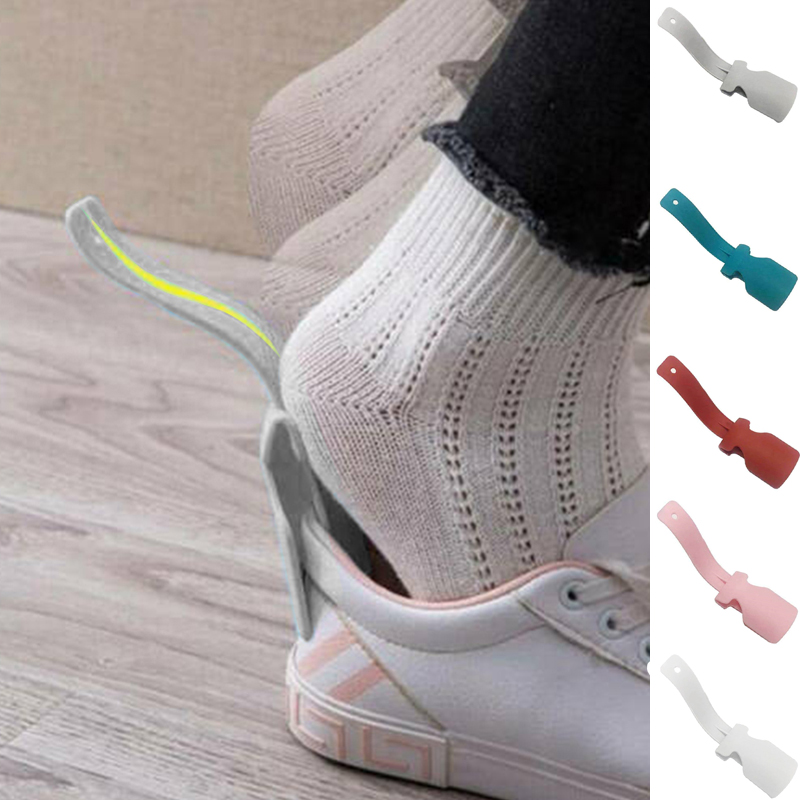 1Pc Lazy Shoe Helper Shoe Horn Shoe Lifting Horn With Leather Strap Travel Shoehorn Schuhanzieher Wear Shoe Helper Dropship