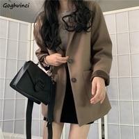 Cappotto in lana da donna manica lunga autunno inverno miscele monopetto moda colletto rovesciato tasche Casual allentato Outwear elegante