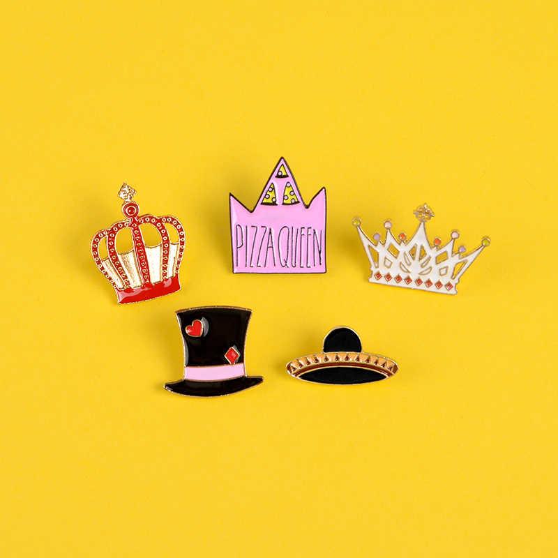 Re e queen dello smalto Spille Personalizzata Corona di Paglia Cappello Magico distintivo Spille k nero Risvolto Spille spilla Vestiti sacchetto dei monili del sacchetto regalo per le donne della ragazza