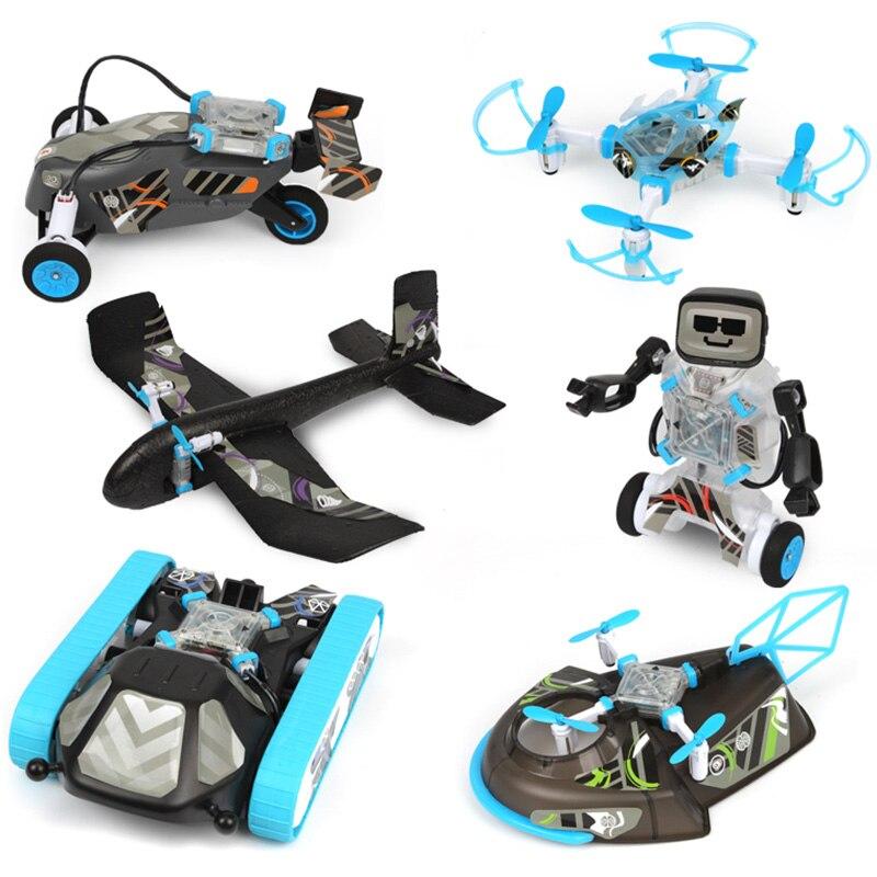 6-en-1 modulaire tige éducation Smart voiture Kit Puzzle assemblé avion Robot Drone modèle jouet bricolage 30M télécommande Distance
