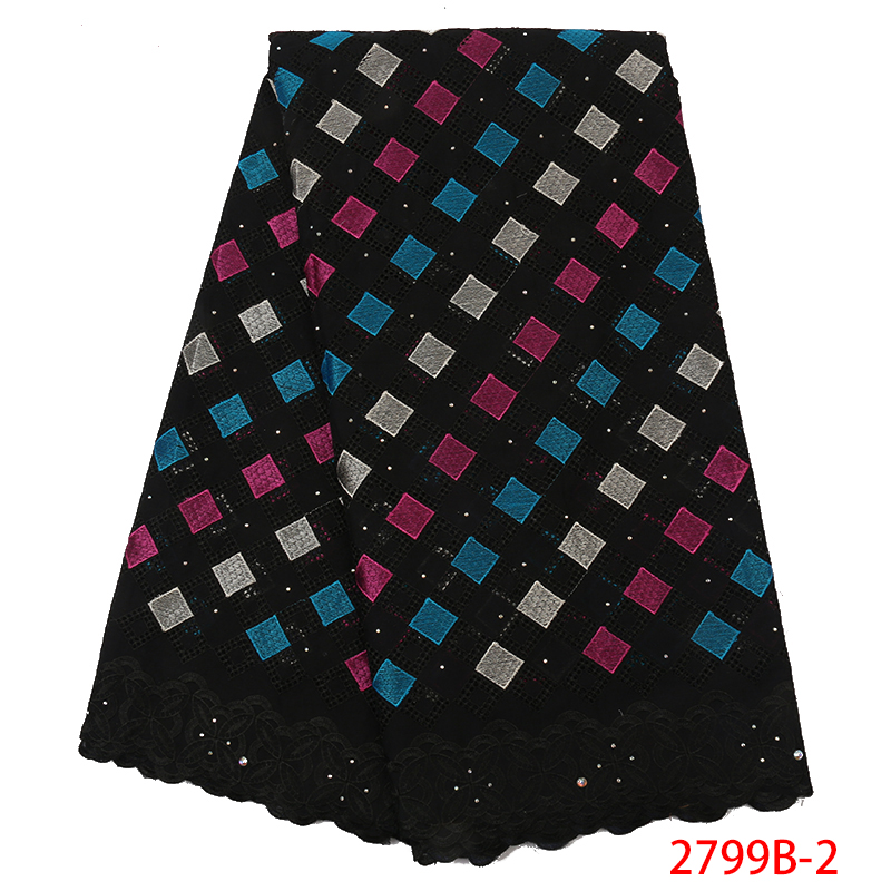 2019 High Quality Swiss Voile Lace Black African Lace Swiss Lace Cotton With Stones Dresses For Women KS2799B-2