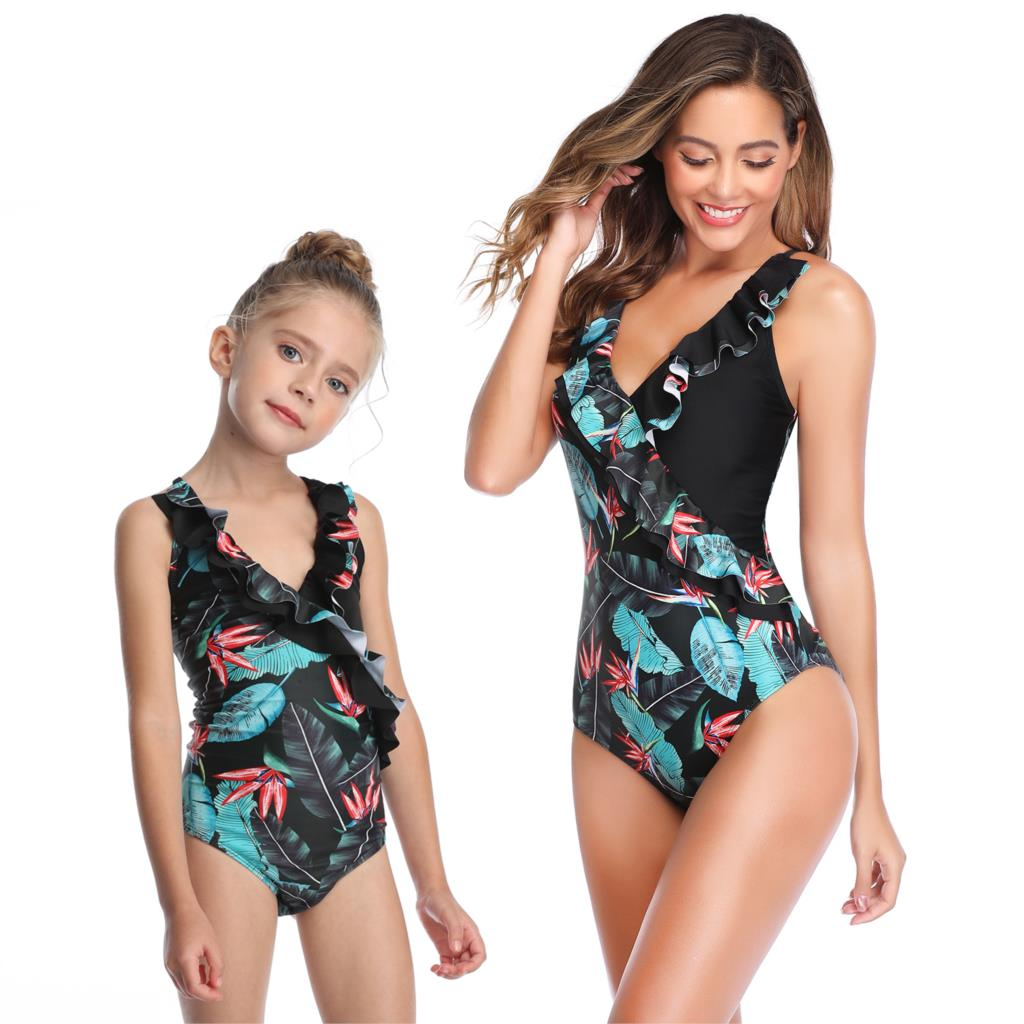 Leaf Bathing Suits Mother Daughter Swimsuit Mommy And Me Swimwear Family Matching Clothes Outfits Look Mom And Baby Bikini Dress