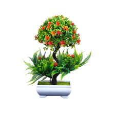 Бонсай, искусственное растение с пластиковыми горшками, имитация растений, набор для украшения дома, стола, аксессуары для офиса, отеля, гос...