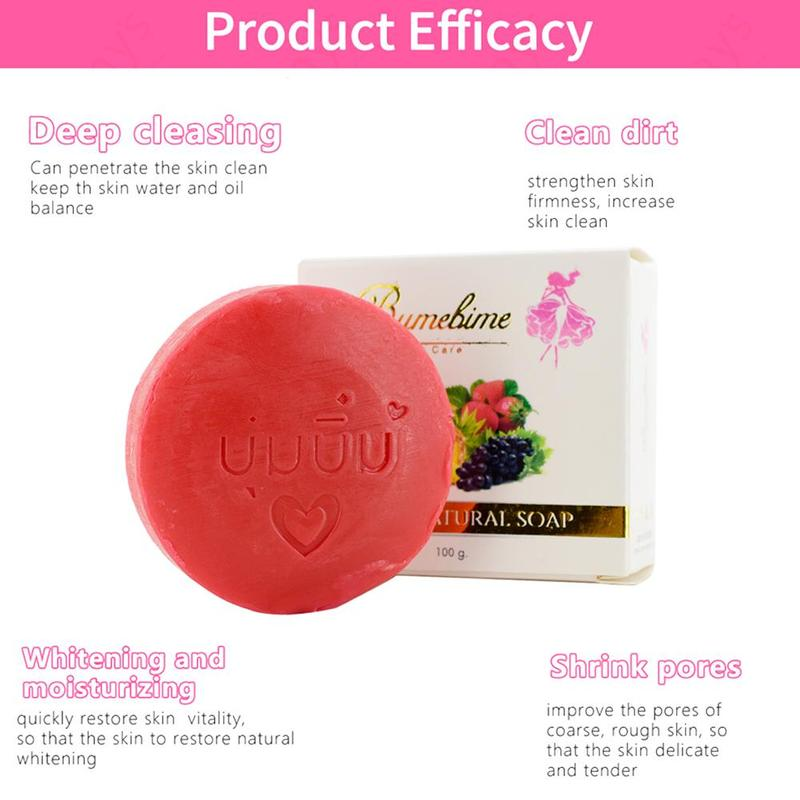 Natural Handmade Whitening Soap Fruits Extract Whitening Reduce Dark Spot White Skin Fast Bright Genuine