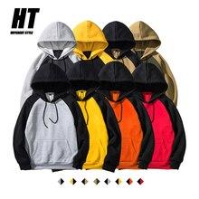 2020 New Autumn Winter Mens Hoodies Thick Oversized Hip Hop Sweatshirt Men Hooded Patchwork Fleece Hoodie for Men Classic Hoody