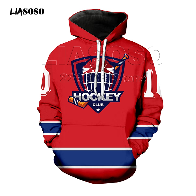 Harajuku Hooded Sweatshirt Women Men Baseball Hockey Uniform 3D Hoodie Outerwear Pullover Number T-shirt Printing Jumper Drop