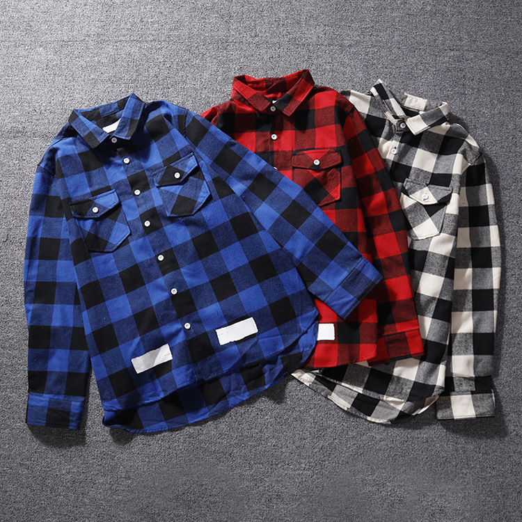 Ow Off Fall And Winter Clothes Red Cell Pattern Mid-length Shirt Men And Women Plaid White Shirt Coat Couples Fashion