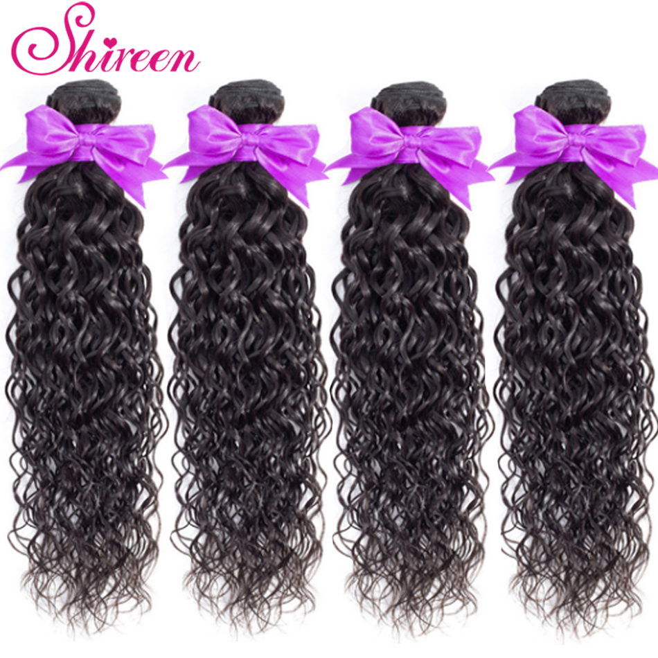 Shireen Hair Products Peruvian Water Wave Bundles 100% Remy Human Hair 3Bundles Natural Color Hair Weaving Extensions On Sales