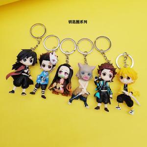 Image 4 - 6pcs/set Anime Demon Slayer Action Figure Toy Llaveros Kimetsu No Yaiba KeyChains Pendant Doll Toys