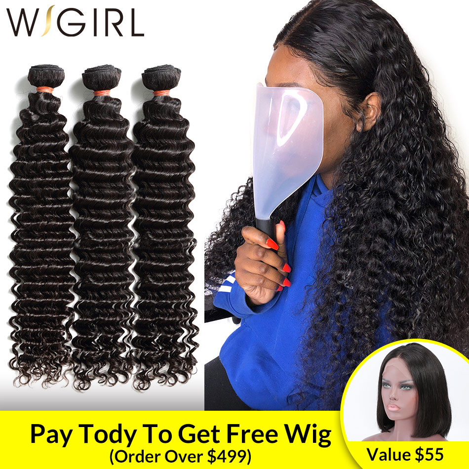 Wigirl 1 3 4 Brazilian Hair Weave Bundles Water Deep Wave 100% Human Hair Long 28 30 Inch Curly Double Drawn Raw Virgin Vendors