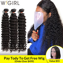 Wigirl 1 3 4 Brazilian Hair Weave Bundles Water Deep Wave 100% Human Hair Long 28 30 Inch Curly Double Drawn Raw Virgin Vendors(China)
