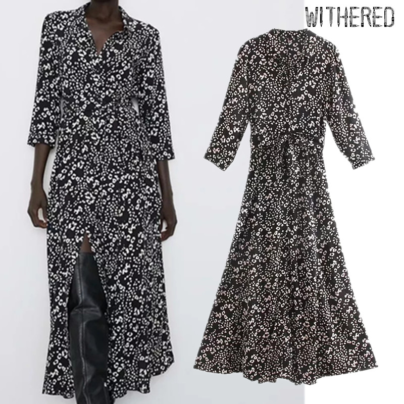 Withered Dress England Elegant Floral Printing Black Collect Waist Vestidos De Fiesta De Noche Vestidos Maxi Dress Women Blazers