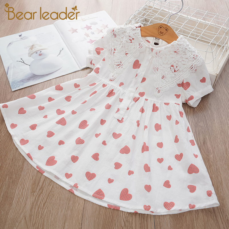 Bear Leader Fashion Girl Party Dresses Love Print Long Sleeve Children Princess Dress Casual Elegant Kids Dress Baby Clothes