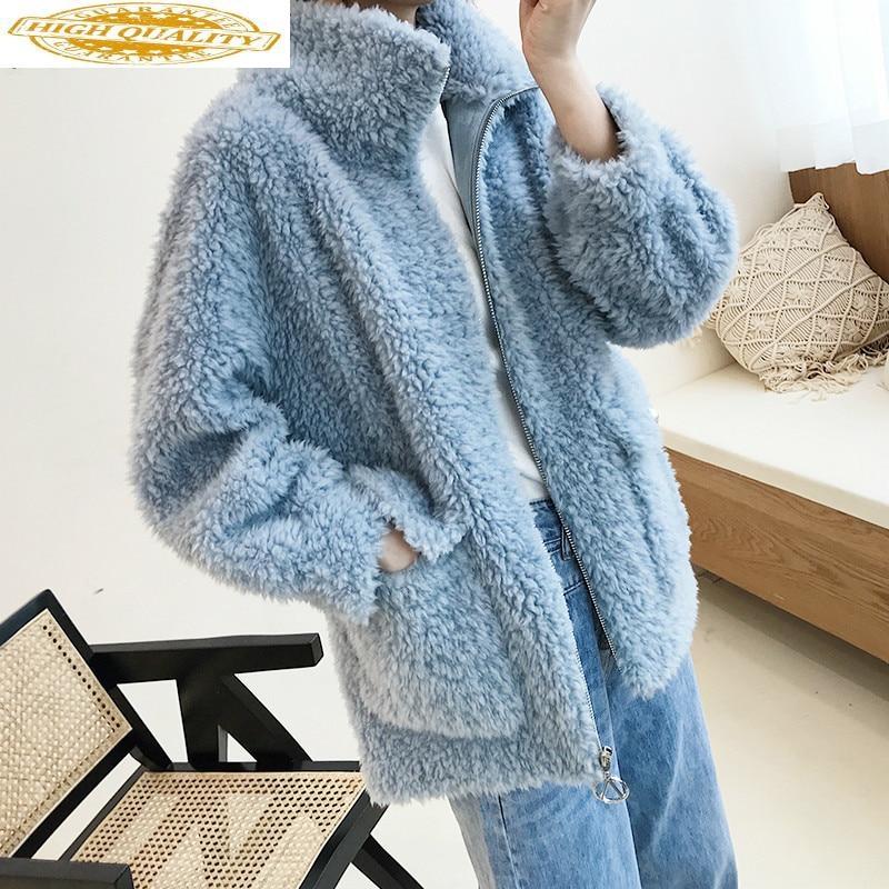Autumn Winter Coat Women Clothes 2019 Sheep Shearing Real Fur Coat 100% Wool Jacket Women Korean Fashion Fur Tops P9042 YY1959