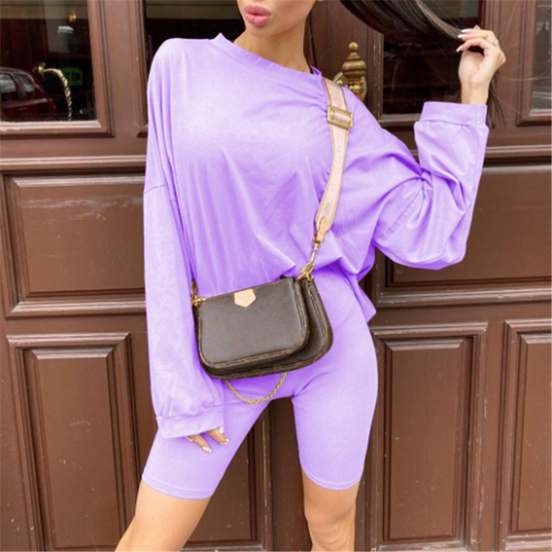 Ultimate SaleCuteandpsycho Short-Set Tshirt Homewear Oversize Basic Joggers Women Two-Piece Casual