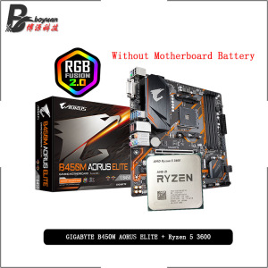 AMD Ryzen 5 3600 R5 3600 CPU + GA B450M AORUS ELITE Motherboard Suit Socket AM4 All new but without cooler