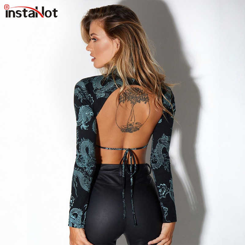 Instahot Sexy Lace Up Backless T-shirt Lange Mouw Mesh Transparante T-shirt Party Club Cropped Top Draak Gedrukt Vrouwen tee Top
