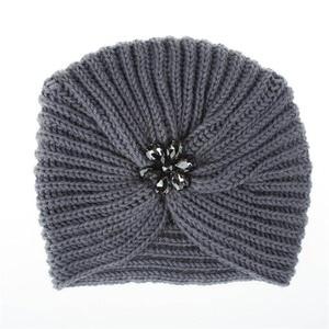 Image 3 - 1 pc di Modo Caldo di Inverno di Autunno Delle Ragazze Delle Donne di Stile Della Boemia lavorato a maglia Cap Accessori per Capelli Turbante Musulmano di Colore Solido cappello Copricapi