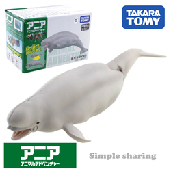 Takara Tomy ANIA Animal Advanture AS-16 Beluga, Кит из смолы, Детская образовательная мини-фигурка, игрушка