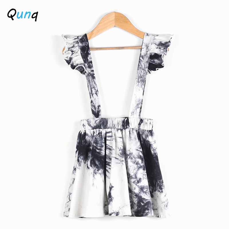 Qunq meninas suspender vestido moda tie-tingido 2021 nova primavera verão crianças vestidos para 2 3 4 5 6 ano criança roupas