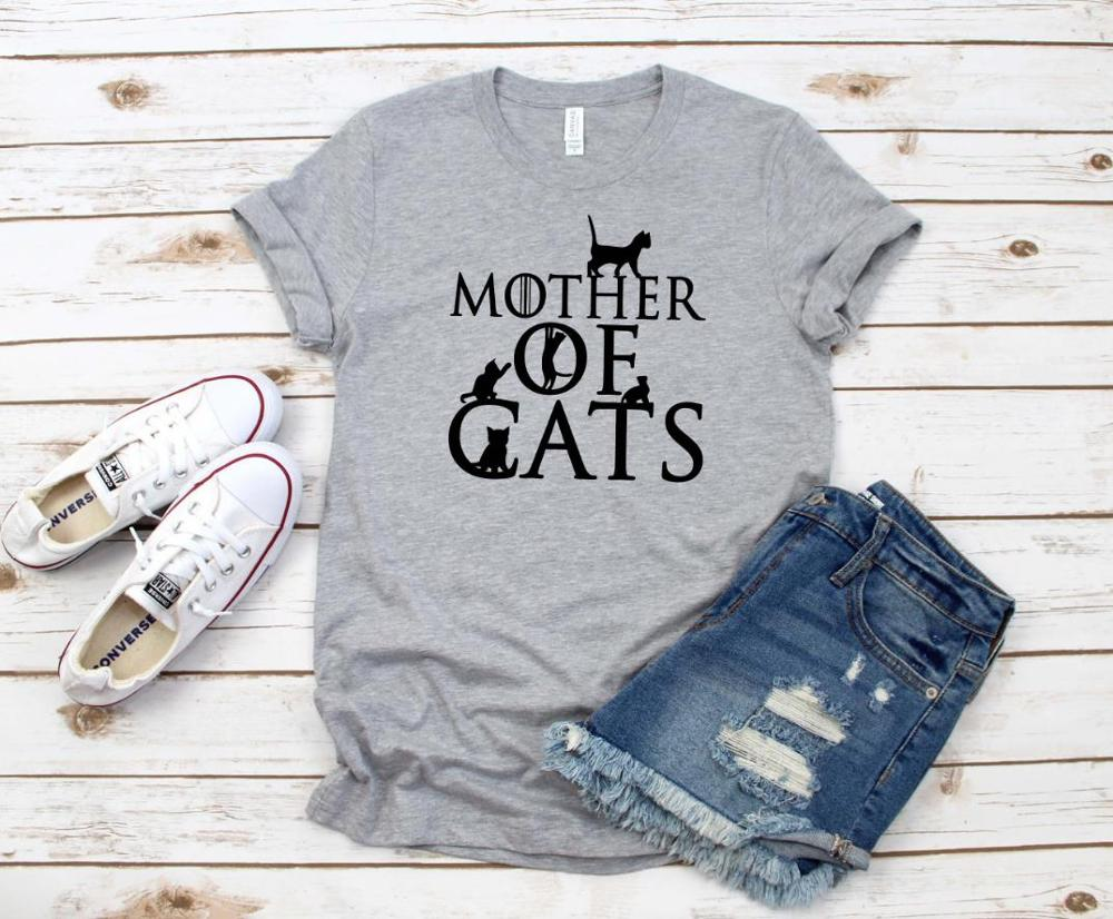 Mother Of Cats Print Women Tshirt Cotton Casual Funny T Shirt Gift 90s Lady Yong Girl Drop Ship S-866