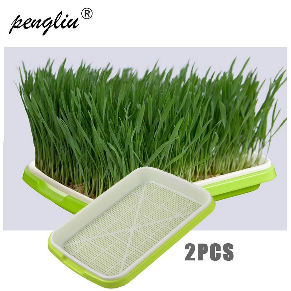 Двухслойный садовый пластиковый поднос для рассады, 2 шт., гидропоника, зеленый поднос, садоводческий бонсай, трава для кошек|Детские горшки|   | АлиЭкспресс