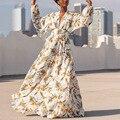 Сексуальное платье для женщин 2020 макси платья с вышивкой, платье с О-образным с глубоким v-образным вырезом на каждый день с длинными рукавам...